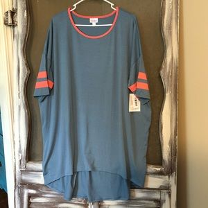 Blue with coral stripes LulaRoe Irma